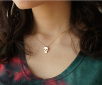N124-5 Hot 2015 Fashion New Design Vintage Cute Skeleton Pendant Necklace Jewelry Wholesales Women Accessories