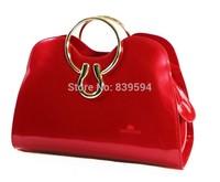 Large European and American fashion patent leather red bridal bag wedding bag ladies handbag hand diagonal