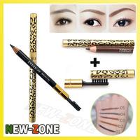(Min. Order 10$) New Makeup Eyebrow Pencil Waterproof Leopard Brown Eyebrow Enhancer Pencil with Brush Cosmetic Tool
