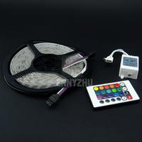 30set/lot Free Fedex  5M 300Led 3528 SMD Lamps RGB LED Strip 12V  + 24Key IR Remote Controller Indoor Flexible Ribbon Light