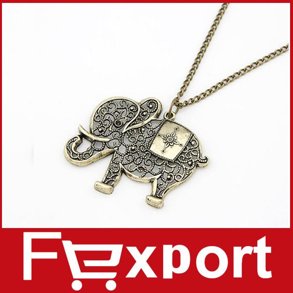 Fashion Vintage Elephant Shaped Necklace Necklaces Jewelry 480