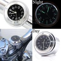 """7/8"""" 1"""" Motorcycle Handlebar Chrome Black Dial Clock For Honda CB VT VTX Cruiser #4515"""