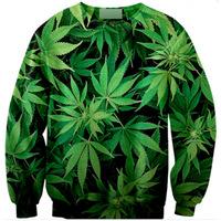 2015 Street Fashion 3d Weed Leaf Printed Camisa Masculina  Hip Hop  Men Clothes Element Sport  Full Sleeve T shirt