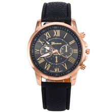2014 New Gold Women Dress Watches Luxury bracelet Geneva Roman Numerals Faux Leather Analog Quartz Wrist