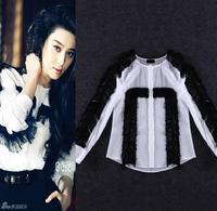 Top Quality!New Fashion Runway Shirt 2015 Spring women 100%Silk Tassel Patchwork Long Sleeve Blouse Shirts OL Office Lady Blusas