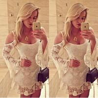 2015 Top Fashion Freeshipping Polyester Chiffon Bud O-neck Party Dresses Vestido Vestidos Femininos New Women Long Sleeve Dress