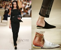 2015 fashion catwalk show flat shoe pointed toe lace -up  genuine leather concise party  sandal free shipping