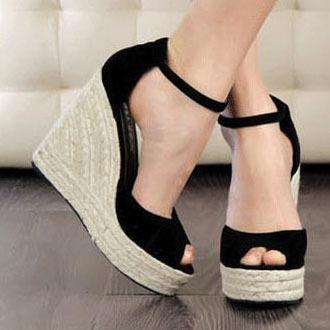 2015 Elegant Fashion Women  s Open Toe Straw Braid Wedges Sandals Velvet  Platform Wedges Summer Shoes High Heels Sandals Hot Sale f03f9fbcf0a3