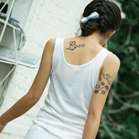 Hot 2pcs Removable Free shipping Handsome women temporary flash tattoo sex products Color Body painting Waterproof Stickers Sexy