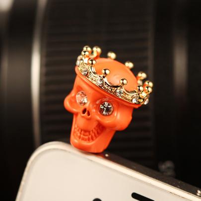 Free Shipping! Korean skull head the dustproof plug Mobile Phone dust plug PWD0029(China (Mainland))