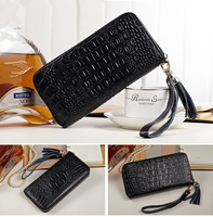 New 2015 luxury women Alligator pattern long zipper  leather wallet 5colors genuine leather cowhide purse/Hand bag