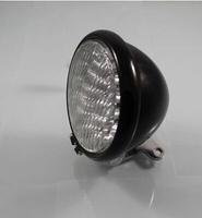 Vintage motorcycle performance LED big lamp light retro black metal lamps glass lens headlight