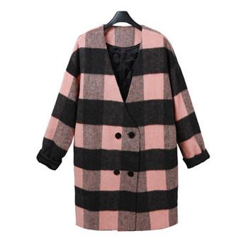 2014 Новый стиль женщины зима средней длины плед шерстяные верхняя одежда хлопка мягкой дамы пальто мода шерсть и смеси пальто пальто