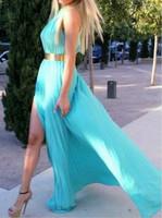 Free Shipping ! Cheap Price ! In Stock ! 2015 New Arrival High Belt Vestido Blue Open Leg Long Dress Evening Dresses OE3017