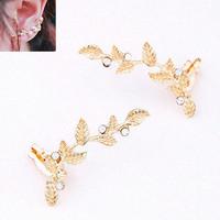 Fashion Luxury Leaf Gold/Silver Plated Stud Earrings Statement Brincos Grandes de festa Pendientes Ear Clip Mujer Bijuterias