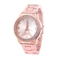 New Arrivals top brand  Rhinestones  Fashion Women Dress Watches Rose Gold Paris Eiffel Tower fashion watch wristwatch
