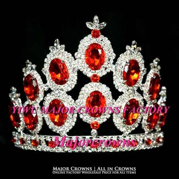Orange Oval Crowns Beauty Girl Party Head Band Crown Tiara AL030 Orange(China (Mainland))