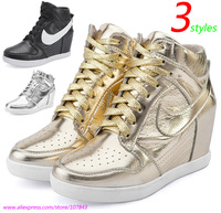 Gold ASH Fashion Wedge Sneakers,Casual Shoes,Genuine Leather 3-styles,Height Increasing Inside 6cm,Size 35-39,Women's Shoes