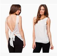 S-XXL Women Clothing New 2015 Summer Solid Women Blouses Sexy Fashion Halter Chiffon Shirt Round Neck Chiffon Top Women tops