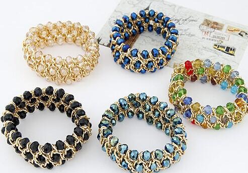 Ethnic jewelry candy beads crystal elastic wide bracelets bangles kpop luxury pulseras mujer pulseiras femininas brazalete