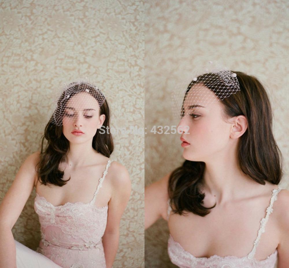 Grátis frete venda quente gaiola de pássaro Wedding Net nupcial Fascinator rosto véu flor branca com pente véu(China (Mainland))