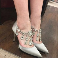 Manolos Shoes Famous Brand Womens Black Satin Genuine Leather Pointed Toe Crystal Rhinestone Jewelry High Heels Prom Party Pumps