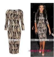 Hot sell 2015 Sexy  women's Party Euorpean Fashion cotton autumn O-neck dress Leopard slim Three Quarter sleeve Free shipping