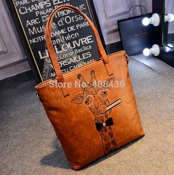 New 2015 Retro Women Leather Bag Cute Cartoon Bag Deer Smoking Handbag Larger Print Shoulder Bag Female Bag Big Tote 0474A(China (Mainland))