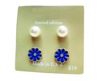 Pearl Stud Earrings Blue Oil Flower Stud Earrings Brand Earrings Set For Women Free Shipping