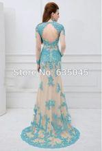 2015 New Custom Made Vestido Longo Elegant Long Sleeve Tulle Beaded Applique Lace Evening Dress Robe