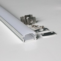 50m(50pcs) a lot, 1m per piece, slim aluminum extrusion profiles for leds strips display with milky diffuse cover