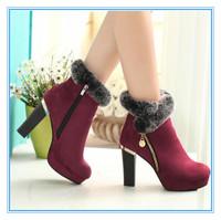 Fashion Short Boots for Women Non-slip Female High Heel Boots Fashion Casual Boots Platform High Heel Winter Boots Keep Warm