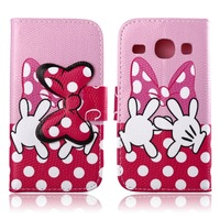 Cartoon Tail Butterfly Knot  Wallet PU Leather Flip Cover Case With Stand For  Samsung Galaxy Core I8260 I8262