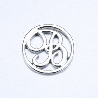 """Wholesale 10PCS Floating Charm Origami Owl """" letter B """" (Silver, Gold) Window Plate, fit for 30mm Locket Jewelry pendant"""