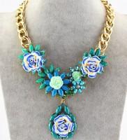 2015 Fashion Flower Statement Luxury Big Necklaces & Pendants Chunky Colar Chain Bijoux Jewelry