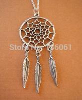 10pcs Vintage Silver Dreamcatcher &Tree Leaf Charms Statement Collar Choker Long Chain  Necklaces Pendants   Jewelry Men X736