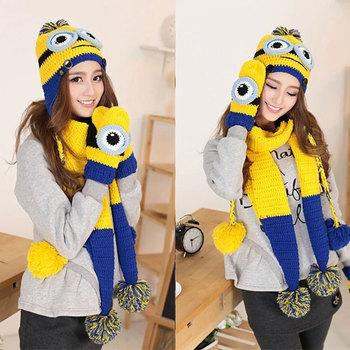 Мода миньоны гадкий я Hat шарф и перчатки комплект осень и зима теплая желтый вязаный ...