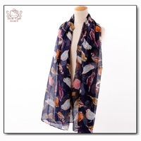 Animal Character Bird Print Viscose Shawls And Scarves ,Scarf Women ,Brand Scarf ,Magic Scarf ,European style