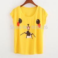 Hot selling!New 2015 Fashion Women Clothing Letter Pikachu Print T Shirt Women T-Shirts Short Sleeve Cotton Casual T Shirts