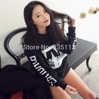 New 2015 Womens Print Sweatshirt Personalized Letters Loose Long Sleeve Cotton Warm Modern Tops Hoodies