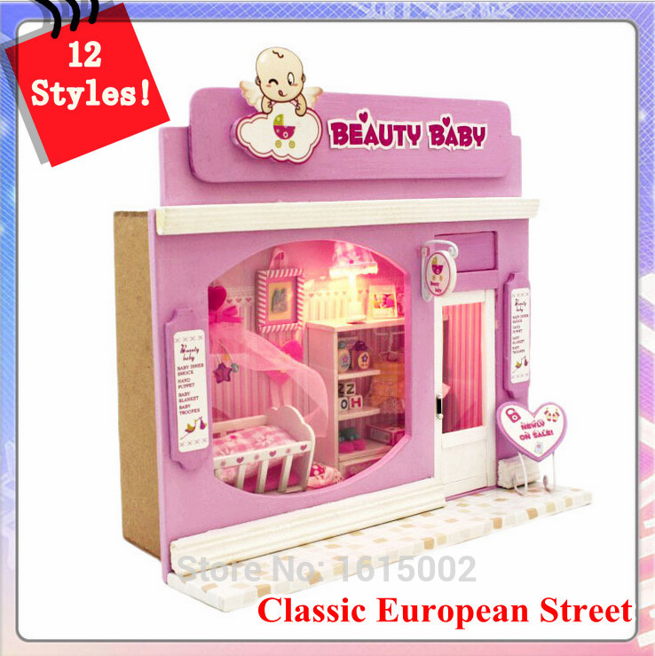 Lighted Baby Kid Wood DIY Doll Dollhouses Furniture 3D Puzzle Model Building Wooden Toys Brinquedos Educativos De Madeira DH22(China (Mainland))
