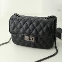 Free shipping 2015 small  plaid chain bag fashion black mini women's handbag messenger bag