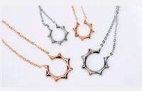 Korean film female short design rose gold necklace