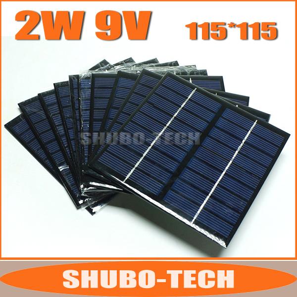 10pcs/lot, 9V 2W Mini Solar Panels, Polycrystalline Silicon Epoxy Solar Panel, Solar Cell Module for DIY Solar Charger(China (Mainland))