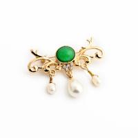 Fashion fashion accessories noble jade green gem pearl women's brooch