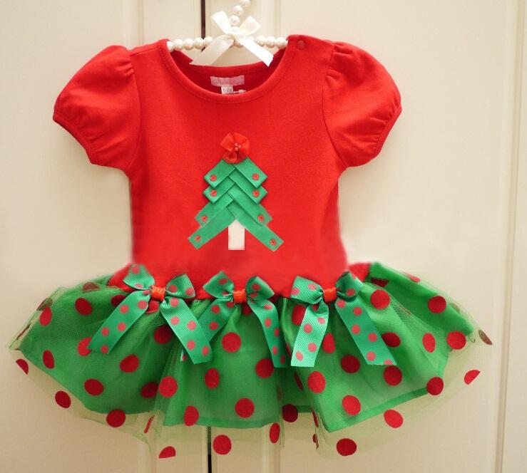 New summer girl dress kids clothing kids tutu bow child dress girls Christmas tree dresses princess baby clothes vestidos(China (Mainland))