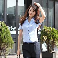 new 2015 fashion women 100% cotton shirt female summer short-sleeve shirt white blue ol slim shirt