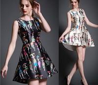 2015 Newest Women Summer SleevelessAsymetrical Dress Slim Character Print Tank Fashion Dress 100% same as picture Free Shipping