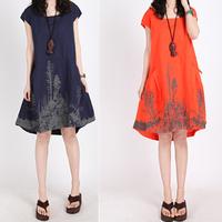 2015 clothing new style summer plus size Ink printed casual vestidos dress ladies women cotton linen comfortable M-XXL dresses