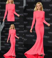Rose Red Vestidos Longos Long Sleeve Floor Length Party Dresses Women Formal Prom Gown Mermaid Evening Dress S M L
